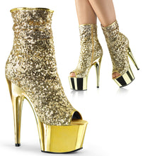 Load image into Gallery viewer, ADORE-1008SQ Pleaser Sexy Peep Toe Sequin Chrome Ankle Boots with 7 Inch Heel - Sexy Shoes - 1