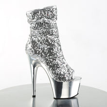 Load image into Gallery viewer, Sexy ADORE-1008SQ Pleaser Sexy Peep Toe Sequin Chrome Ankle Boots with 7 Inch Heel  Pleaser - Miss Hollywood - Sexy Shoes