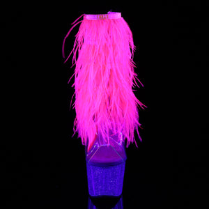Sexy ADORE-1017MFF Pleaser Kinky Fur Fringe Boots 7 Inch Heel with Platforms Open Toe/Back Ankle Boots  Pleaser