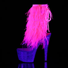 Load image into Gallery viewer, Sexy ADORE-1017MFF Pleaser Kinky Fur Fringe Boots 7 Inch Heel with Platforms Open Toe/Back Ankle Boots  Pleaser