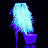 ADORE-1017MFF Pleaser Kinky Fur Fringe Boots 7 Inch Heel with Platforms Open Toe/Back Ankle Boots