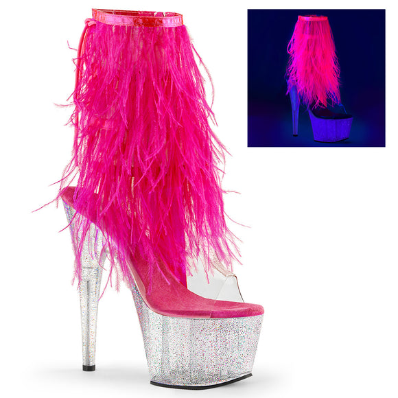 ADORE-1017MFF Pleaser Kinky Fur Fringe Boots 7 Inch Heel with Platforms Open Toe/Back Ankle Boots - Sexy Shoes - 1