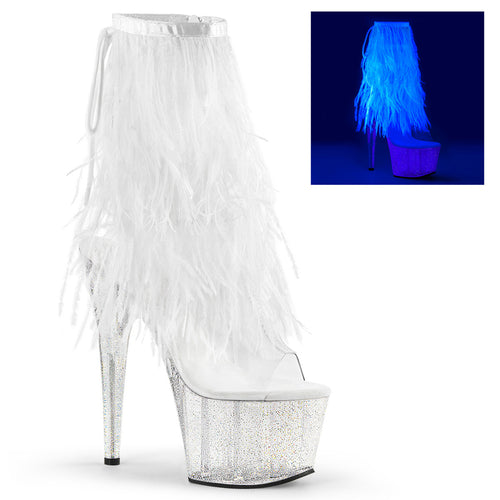 ADORE-1017MFF 7Inch Clear White Marabou Strippers Ankle Boot