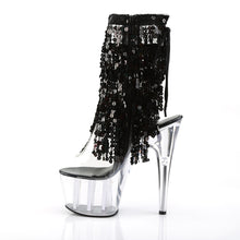Load image into Gallery viewer, ADORE-1017SQF Pleaser Sexy Sequin Boots 7 Inch Heel with Platforms Open Toe/Back Ankle Boots-Pleaser-Miss Hollywood Sexy Shoes