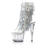 ADORE-1017SQF Pleaser Sexy Sequin Boots 7 Inch Heel with Platforms Open Toe/Back Ankle Boots