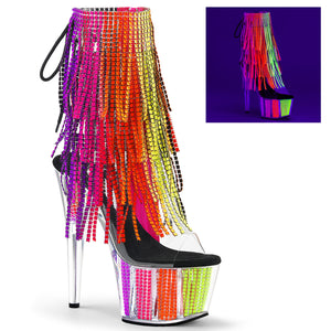 ADORE-1017SRS Pleaser Sexy Bling Boots 7 Inch Heel with Platforms Open Toe/Back Ankle Boots