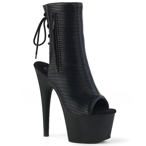 ADORE-1018 7 Inch Heel Black Quilted Strippers Ankle Boots