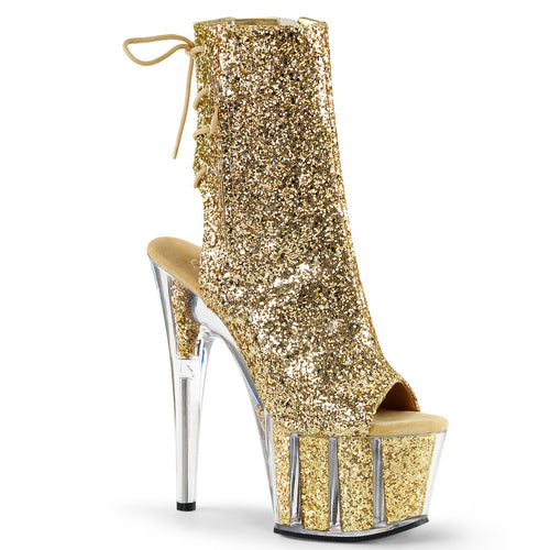 ADORE-1018G 7 Inch Heel Gold Glitter Strippers Ankle Boots