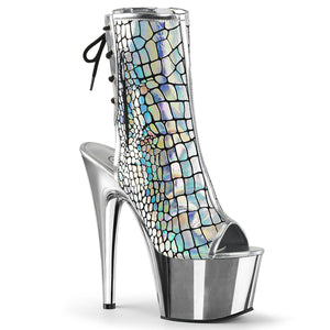 ADORE-1018HG Pleaser Sexy Ankle Boots Hologram Peep Toe Chrome Platform Boots