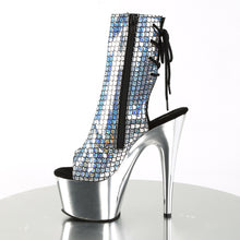 Load image into Gallery viewer, ADORE-1018MSC Pleaser Sexy Ankle Boots Hologram Peep Toe Chrome Platform Boots