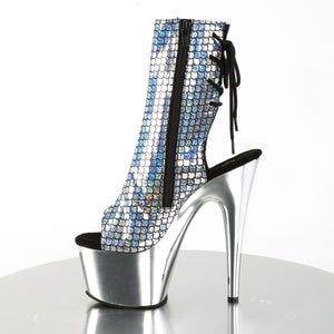 ADORE-1018MSC Pleaser Sexy Ankle Boots Hologram Peep Toe Chrome Platform Boots