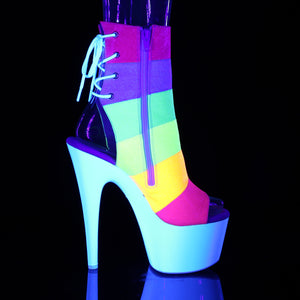 "ADORE-1018RBG 7"" Heel Rainbow Glitter Strippers Ankle Boots"
