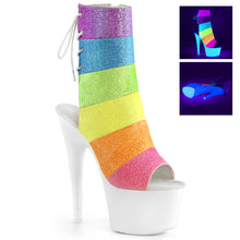 "Load image into Gallery viewer, ADORE-1018RBG 7"" Heel Rainbow Glitter Strippers Ankle Boots"