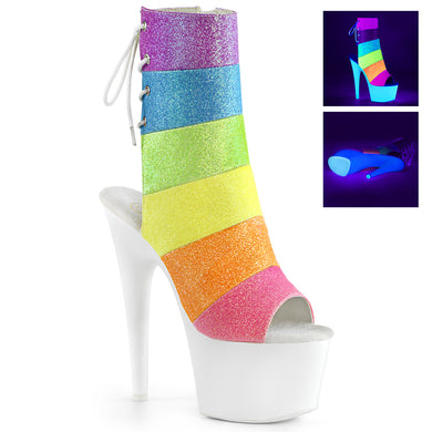 Sexy ADORE-1018RBG Sexy Platform Neon Rainbow Glitter Ankle Boots with Peep Toes by Pleaser Shoes for Pole Dancing