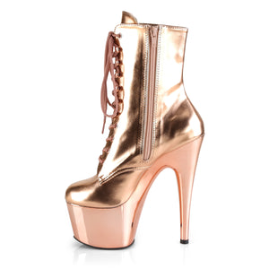 "ADORE-1020 7"" Rose Gold Metallic Exotic Dancer Ankle Boots"