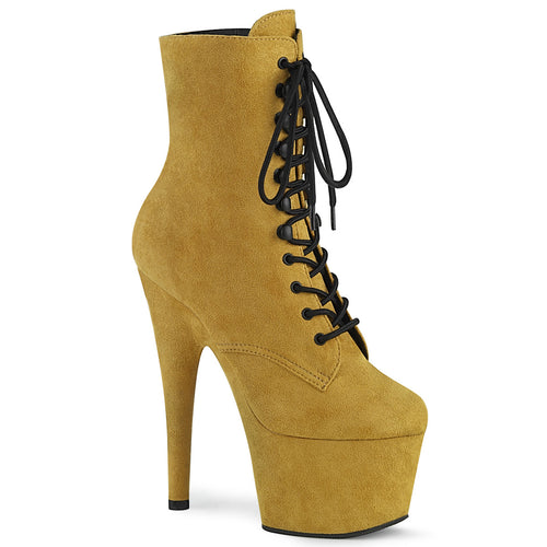 ADORE-1020FS Pleaser Mustard Faux Suede and Mustard Faux Suede Platforms (Exotic Dancing)