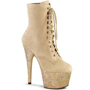ADORE-1020FSMG Pleaser Beige Faux Suede and Beige Multi Mini Glitter Platforms (Exotic Dancing)