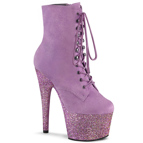 ADORE-1020FSMG Pleaser Purple F.Suede and Purple Multi Mini Glitter Platforms (Exotic Dancing)