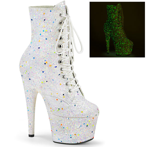 ADORE-1020GDLG 7 Inch White Glitter Exotic Dancer Ankle Boot