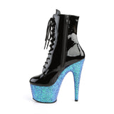 ADORE-1020LG Pleaser Lace-Up Glitter Platforms Ankle Boots with Side Zip