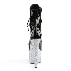 ADORE-1020LG 7 Inch Heel Black Silver Glitter Ankle Boots-Pleaser-Miss Hollywood Sexy Shoes