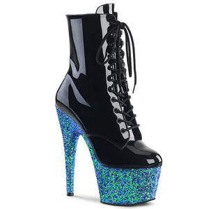 Sexy ADORE-1020LG Pleaser Lace-Up Glitter Platforms Ankle Boots with Side Zip  Pleaser - Miss Hollywood - Sexy Shoes