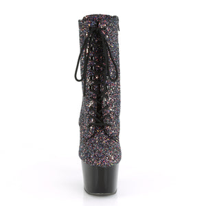 "ADORE-1020LG 7"" Heel Purple Multi Glitter Sexy Ankle Boots"