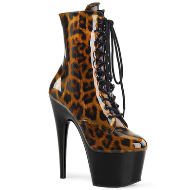 ADORE-1020LP Pleaser Sexy Boots 7 Inch Stiletto Heel Lace-Up Platforms Animal Print Ankle Boots, Side Zip