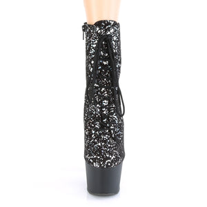 "ADORE-1020SPLAT 7"" Heel Black Velvet Pole Dancer Ankle Boots"