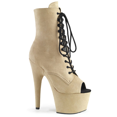ADORE-1021FS Pleaser Sexy Shoes 7 Inch Heel, Platforms, Peep Toe Lace-Up Faux Suede Ankle Boots