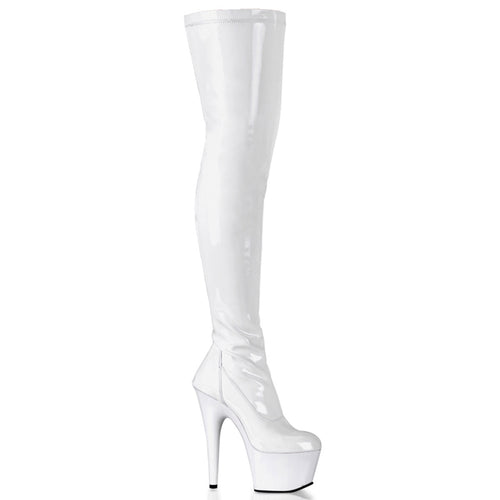 ADORE-3000 7 Inch Heel White Patent Pole Dancing Thigh Highs