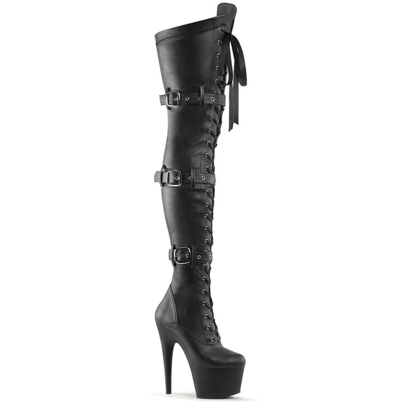 ADORE-3028 Pleaser Sexy 7 Inch Front Lace-Up Fetish Buckle Platforms Thigh High Length Boots - Sexy Shoes - 1
