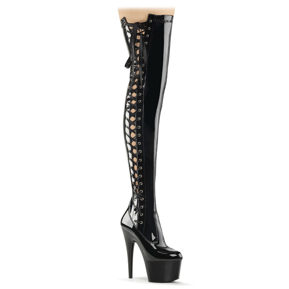 ADORE-3050 Pleaser Sexy 7 Inch Ribbon Lace-Up Side Fetish Platforms Thigh High Length Boots - Sexy Shoes