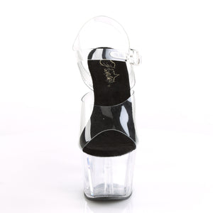 "ADORE-708 Pleaser 7"" Heel Clear and Black Pole Dancing Shoes-Pleaser- Sexy Shoes Alternative Footwear"