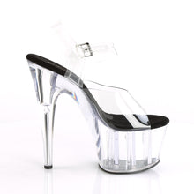 "Load image into Gallery viewer, ADORE-708 Pleaser 7"" Heel Clear and Black Pole Dancing Shoes-Pleaser- Sexy Shoes Fetish Heels"