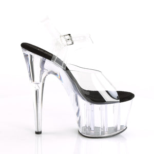 "ADORE-708 Pleaser 7"" Heel Clear and Black Pole Dancing Shoes"