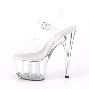 ADORE-708BFL 7 Inch Heel Clear and White Pole Dancing Shoes