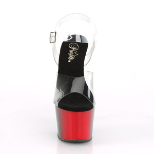 "ADORE-708BR 7"" Heel Clear/Red-Black Pole Dancer Shoes"