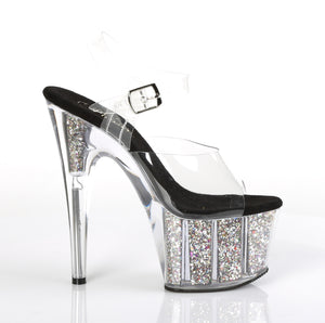 ADORE-708CG Clear Silver Confetti Glitter Stripper Sexy Shoes