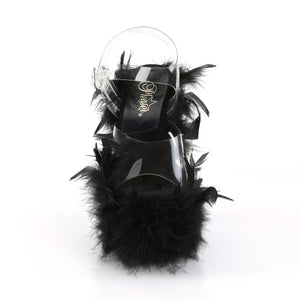 "ADORE-708F 7"" Heel Clear Black Marabou Feather Sexy Shoes"