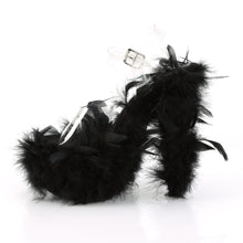 "Load image into Gallery viewer, ADORE-708F 7"" Heel Clear Black Marabou Feather Sexy Shoes"