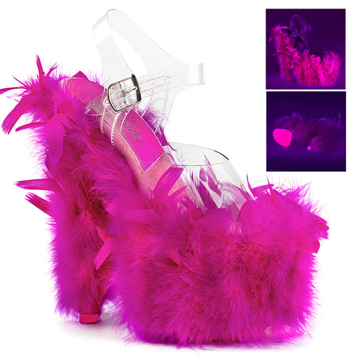 ADORE-708F Pleaser Sexy Shoes 7 Inch UV Neon Marabou Feather Ankle Strap Platforms Sandals