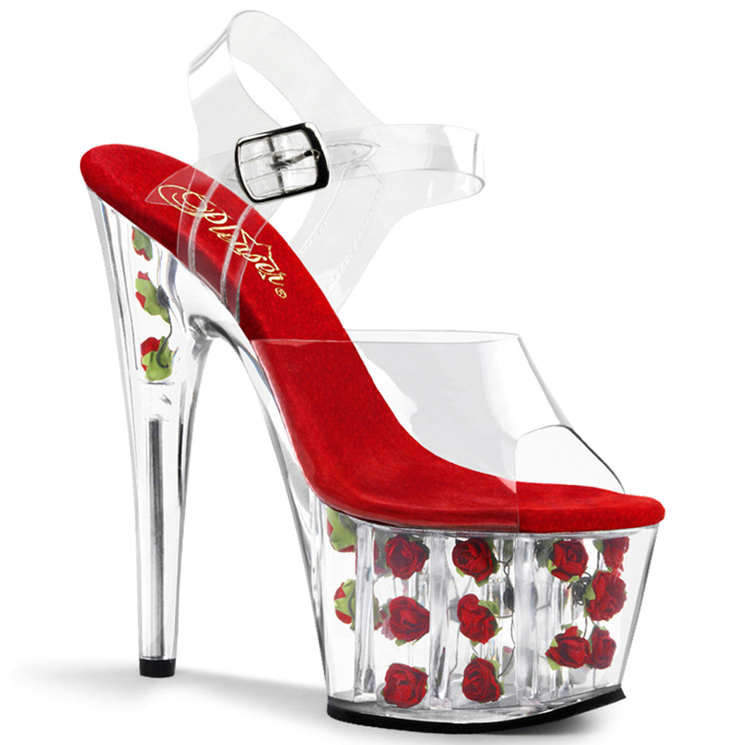 ADORE-708FL Pleaser Sexy Shoes 7 Inch Heel, 2 3/4 Inch Platforms Ankle Strap Sandals-Platforms (Exotic Dancing)-Pleaser-7 uk (40 Europe - 10 Usa)-Clear/Red Flowers-Miss Hollywood Sexy Shoes