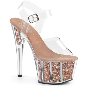ADORE-708G Pleaser Sexy Shoes 7 Inch Glitter Filled Ankle Strap Platforms Sandals - (New Style)