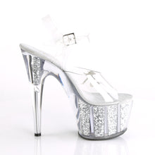 "Load image into Gallery viewer, ADORE-708GTG Sexy 7"" Heel Clear Silver Glitter Sexy Shoes"