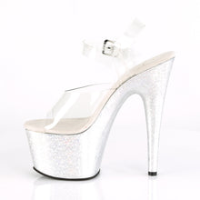"Load image into Gallery viewer, ADORE-708HB Sexy 7"" Heel Clear Silver Hologram Sexy Shoes-Pleaser- Sexy Shoes Pole Dance Heels"