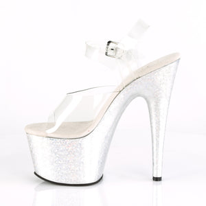 "ADORE-708HB Sexy 7"" Heel Clear Silver Hologram Sexy Shoes-Pleaser- Sexy Shoes Pole Dance Heels"