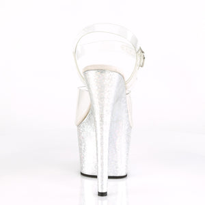 "ADORE-708HB Sexy 7"" Heel Clear Silver Hologram Sexy Shoes-Pleaser- Sexy Shoes Fetish Footwear"