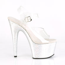 "Load image into Gallery viewer, ADORE-708HB Sexy 7"" Heel Clear Silver Hologram Sexy Shoes-Pleaser- Sexy Shoes Fetish Heels"