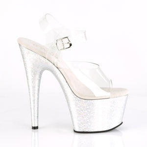 "ADORE-708HB Sexy 7"" Heel Clear Silver Hologram Sexy Shoes-Pleaser- Sexy Shoes Fetish Heels"